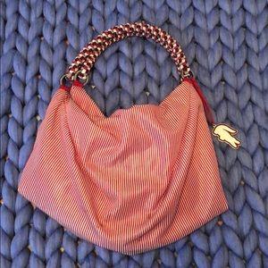 Red pin stripe Lacoste purse